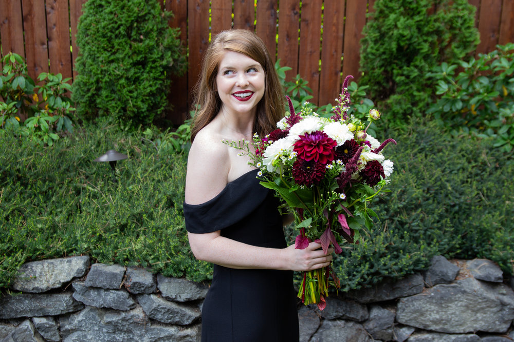 black tie wedding guest dress, upton off the shoulder gown, show me your mumu, pike place market flowers, little black dress