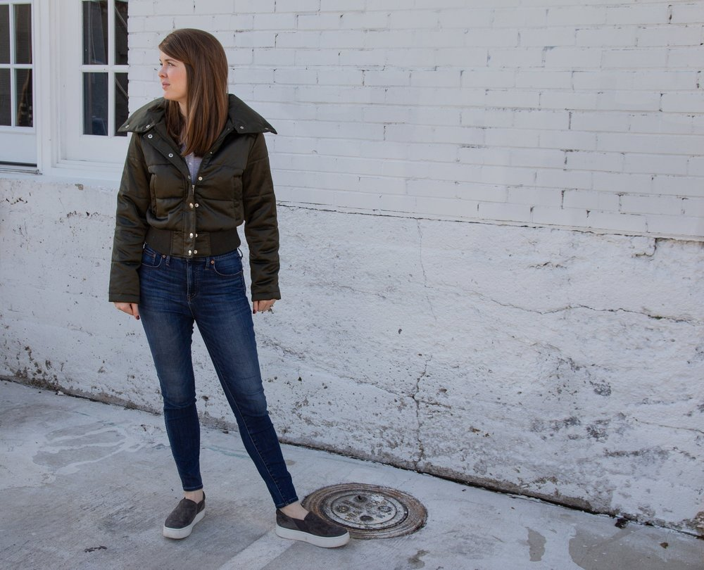 "budget puffer jacket, Maralyn & Me Shiny Crop Puffer Jacket | Abercrombie and Fitch Slim-Fit Henley | Madewell 10"" High-Rise Skinny Jeans in Danny Wash 