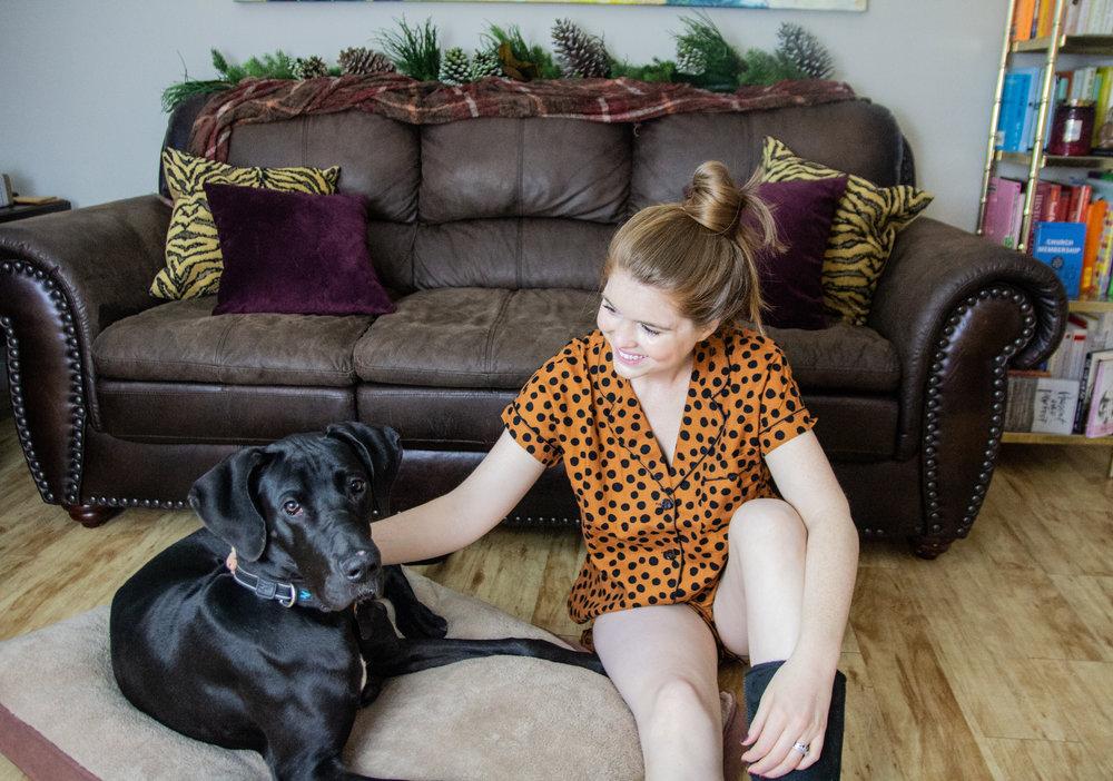 pupdate, great dane puppy, great dane tips, madewell leopard spot flannel pajamas