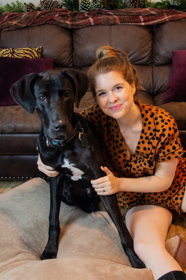 pupdate, great dane puppy, great dane tips, madewell leopard spot flannel pajamas