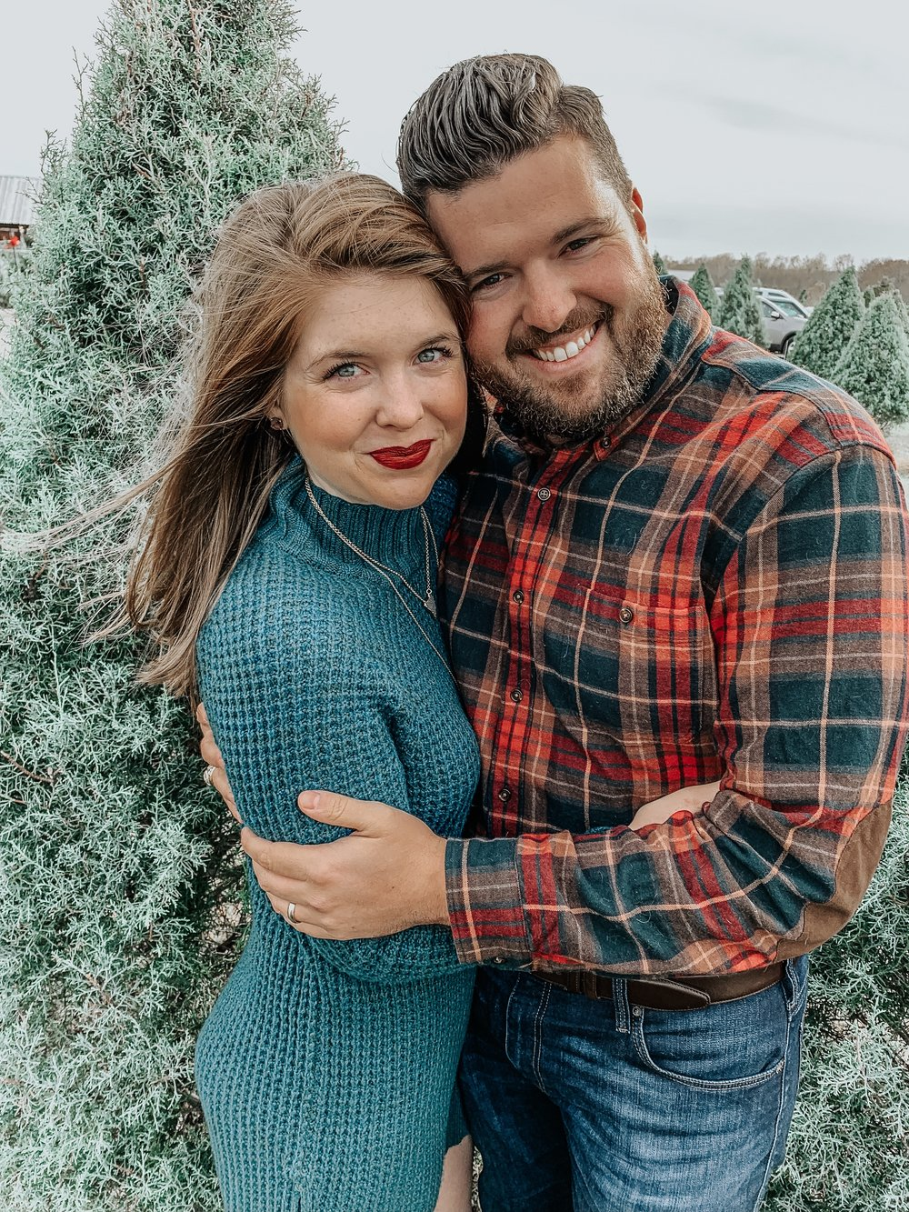 where to cut down our own christmas tree near dallas, chop down your christmas tree in dfw, kajin christmas tree farm, u-pick farm, rockwall, american eagle sweater dress, suede over the knee boots, matte red lipstick, lawless lipstick