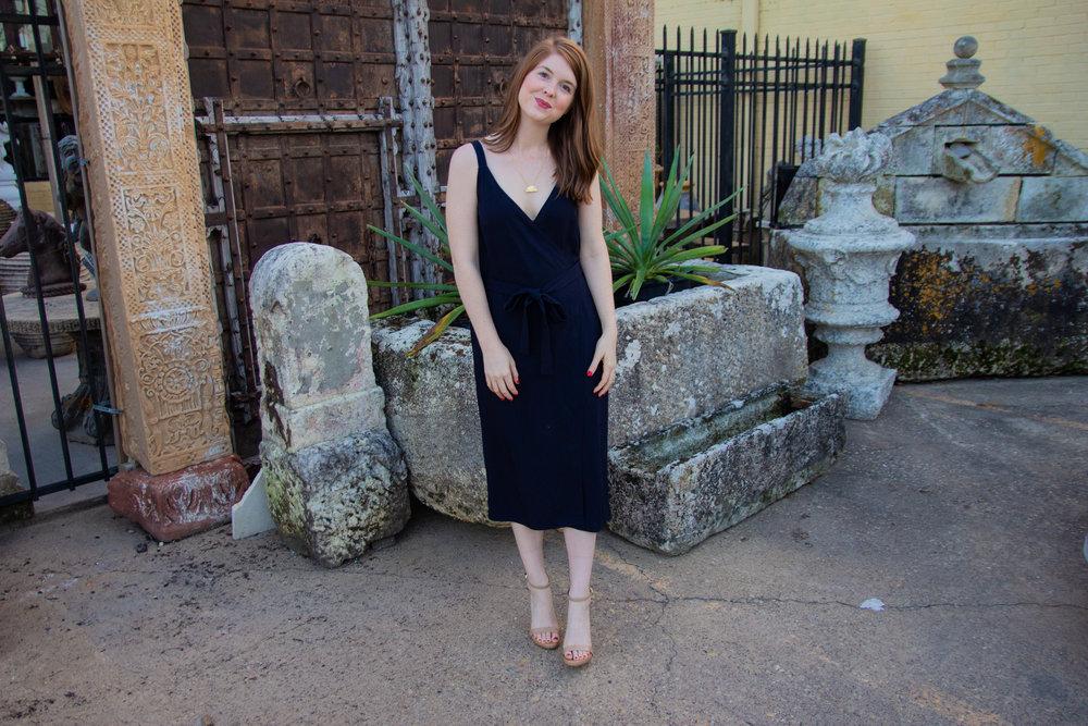 everlane wrap dress, work chic, easy chic, davinci pendant, lawless lipstick, wedding guest dress, versatile dress