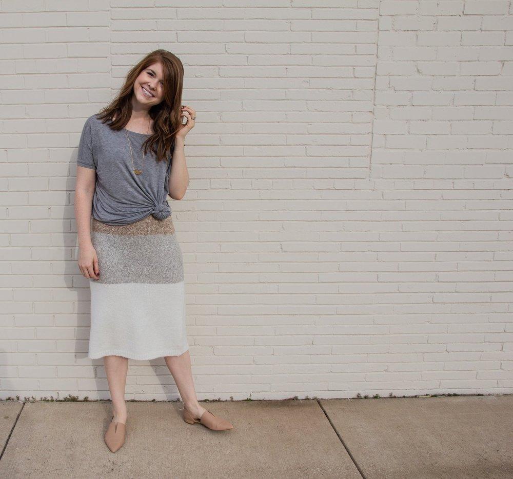 how to style a sweater skirt, lou and grey stripe sweater skirt, vince darlington flats, short sleeve piko top, da vinci pendant