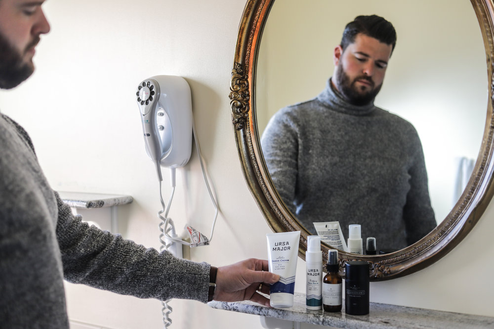 easy skincare routine for a guy, cruelty-free and nontoxic skincare  routine,  primally pure everything spray, charcoal natural deodorant, ursa major, nontoxic shaving products