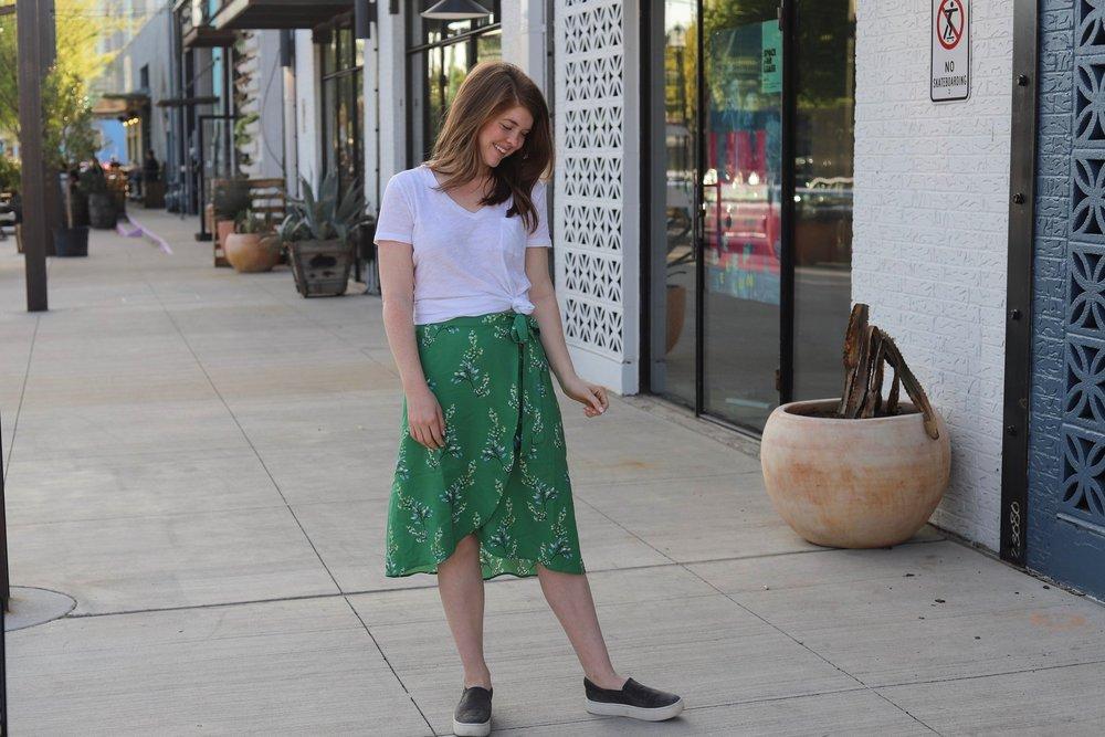loft flower branch wrap skirt, the art of versatility, lments of style, ellemulenos, easter outfit, easter skirt,  how to style a wrap skirt