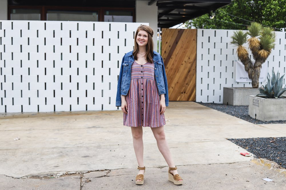 madewell rainbow stripe tank dress, marc fisher adalla platform wedge sandals, levis denim jacket, ilia rosette lipstick, summer wedges, espadrilles, sandals