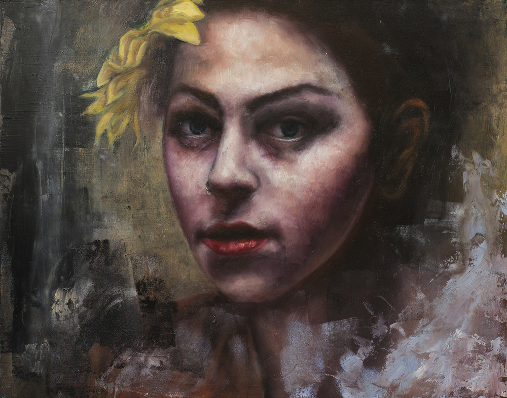 Girl with yellow flower