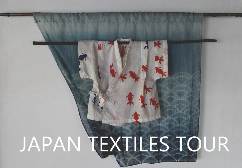 """If your schedule is still open this spring, get an air ticket and travel and learn with us! Various Japanese textile artists in my network support this tour. It is a flexible tour for 2 weeks during which you can hop-in or hop-off our journey through West Japan. You pay the actual cost of the activities, transportations, meals, accommodations with no markup, and a small affordable coordination fee is extra.   March 24 - April 4, 2018 (You can extend the day before and after the tour. I help for you to arrange the schedule.)   Highlights:   Misao Jo's Farewell Event - SAORI fashion show and movie  Japanese Indigo """"Aizome"""" Workshop in Tokushima  Ancient """"Tafu"""" weaving with natural fiber """"Kouzo"""" in Tokushima  Traditional """"Kakishibu"""" tannin dye in the farm in Okayama  Traditional Arimatsu shibori dye in Aichi  Sustainable business with natural dyers in Okayama  Makers' rural school in the eco-village in Okayama  Japanese crafts/yarn/antique textiles shops in Osaka and Kyoto"""