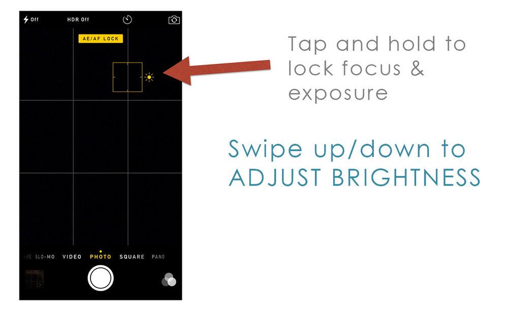 iphone camera adjust brightness focus and exposure