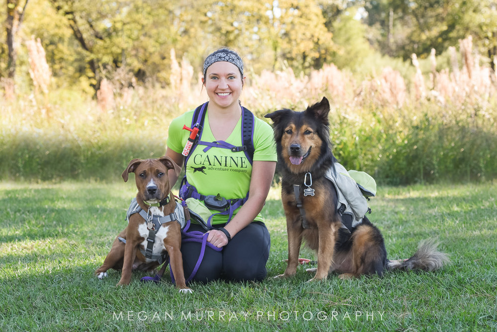 Amy Pelkner, owner of Canine Adventure Co, with her dogs Piper (left) and Sammy (right), both rescued from Friends for Life
