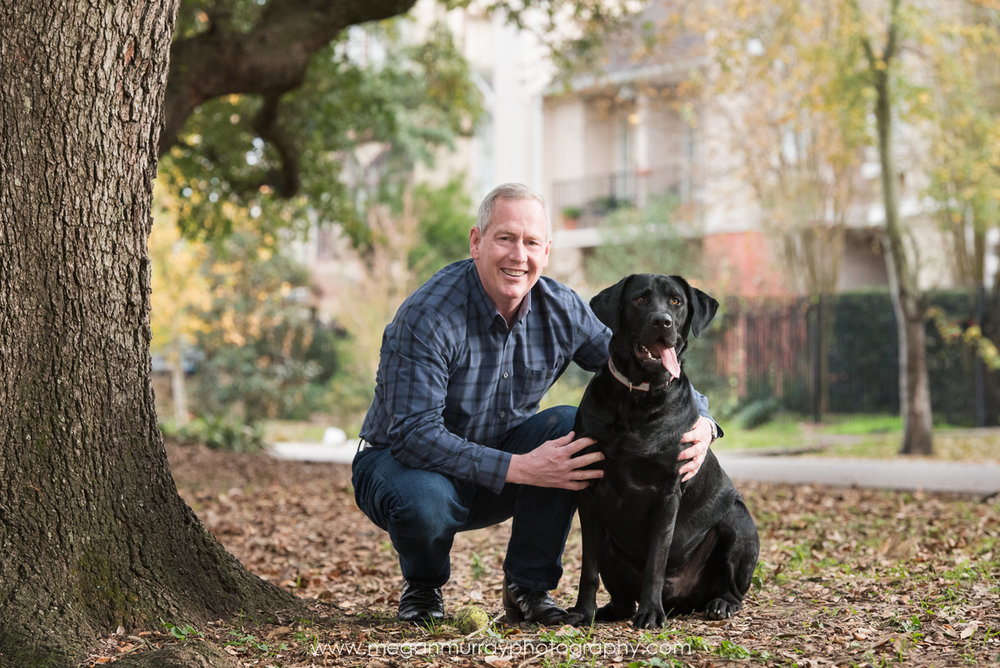black lab with owner in houston memorial park