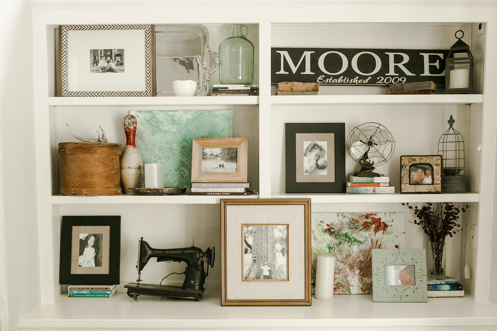 styling bookshelves with photographs (photo credit:  Chelsea Davis Photography )