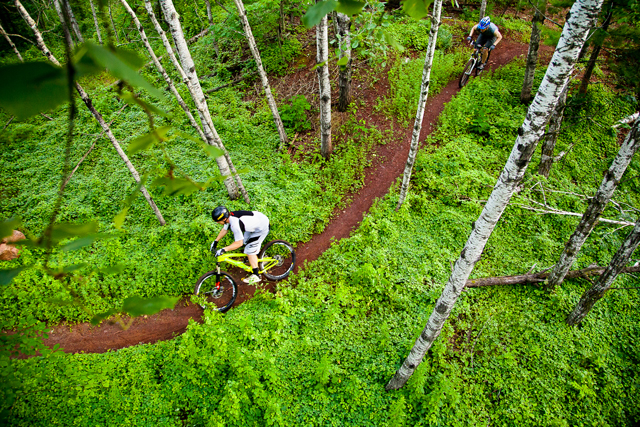 Typical trail section: Fast, flowy, and red. (Photo by Hansi Johnson)