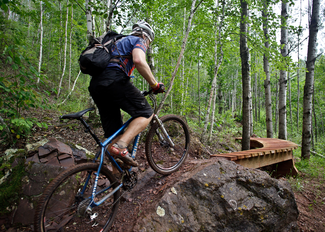 Wooden ramps like this are just one way that Cuyuna keeps you on your toes. (Photo by Hansi Johnson)