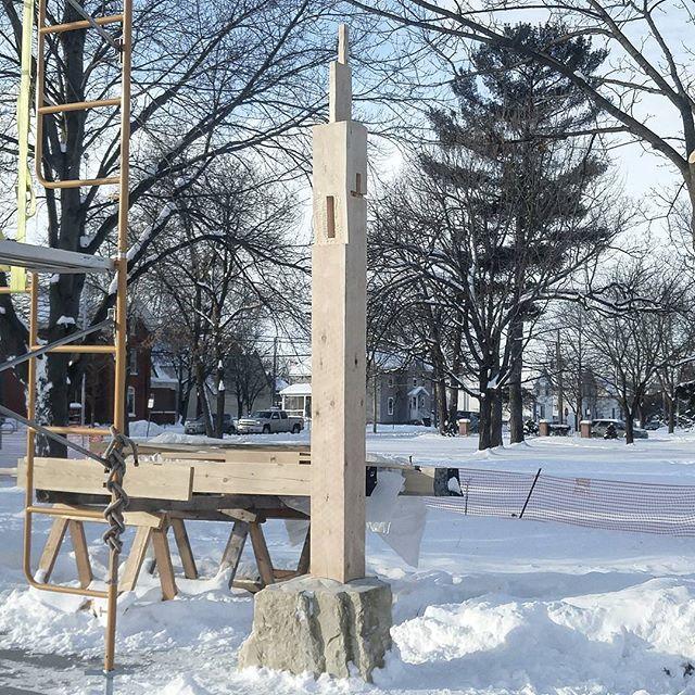 Postin up at the Menomonie Farmers Market Pavilion site.  The first of 16.  #architecturelovers #architecture #sculpture #art #winterfashion #yesplease #yes #sendingit #design #precision