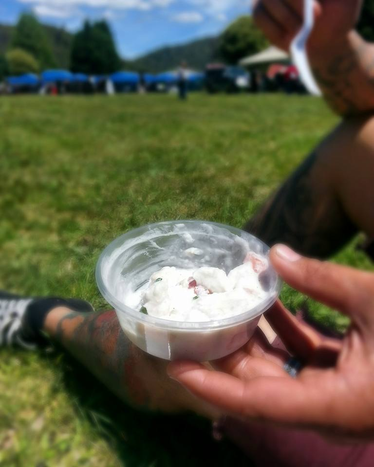Morgan's raw fish with coconut cream at the Ruatahuna Food Festival. We brought some home too.