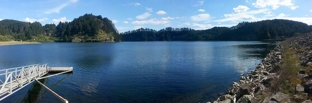 A panoramic shot of Matahina Dam.