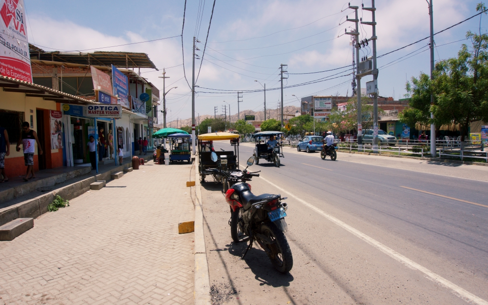 Main street in Máncora, which is part of the Pan-American highway.