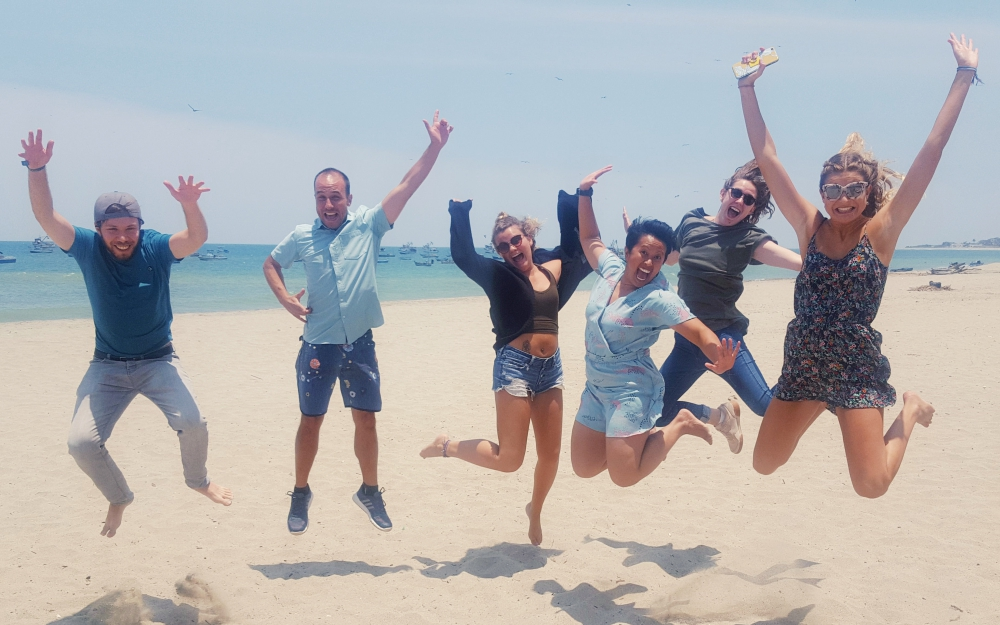 We did it! After four weeks, we are all qualified TEFL teachers and off to our placements. Left to right: Oliver, Adan (TEFL Zorritos course trainer), Kassie, me, Amelia and Jess.