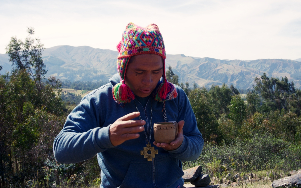 Christian blessing the cup of Wachuma.