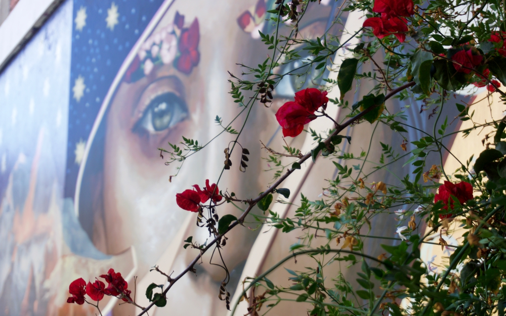 Here hauntingly, beautiful eyes move with you throughout the courtyard.