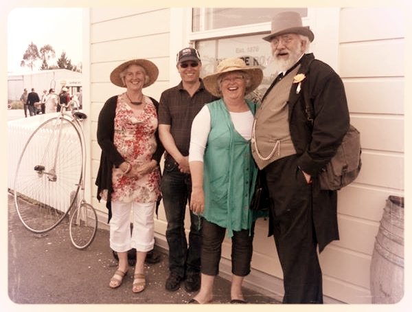 From left: Phillippa Seddon, David Seddon, Jane Seddon and David Verrall (local Seddon enthusiast)   at the opening of   The Theatre Royal Hotel, Kumara Gala Day, November 2013.