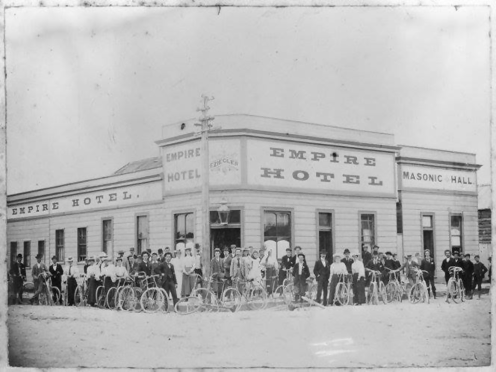 Hokitika Cycle Club outside the Empire Hotel