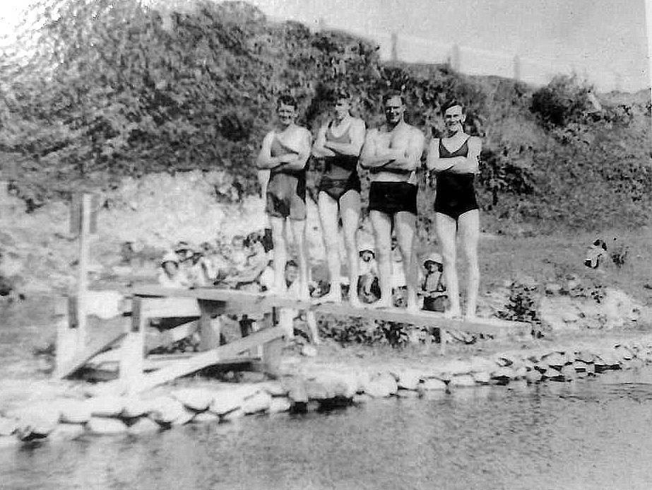 Swimmers at the Kumara Baths