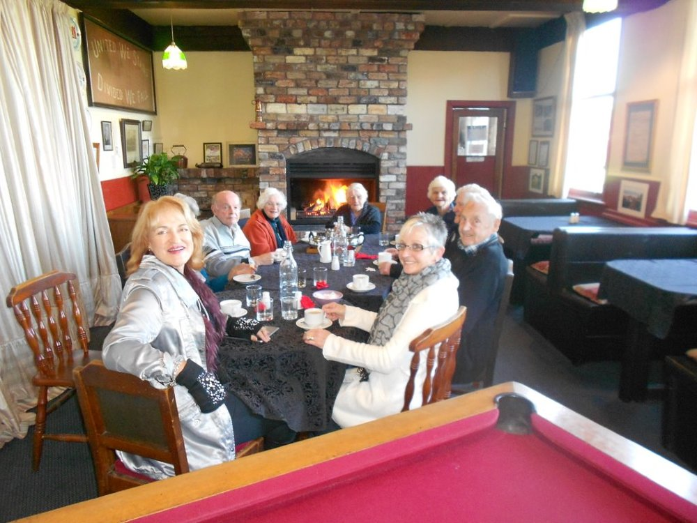 Waiting on lunch at the Former Blackball Hinton hotel  From left to right is Kerrie/Bob/Mary/Jean/Pauline/Pat/Trevor & Lynlee
