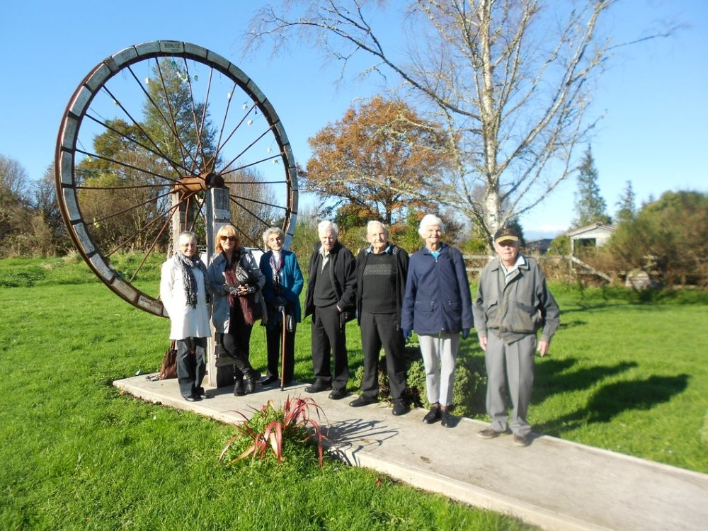 This photo was standing next to the Pike Miners memorial wheel From left to right is;Lynlee/ Kerrie/Phyl Stuart/Pat Fitzgerald/Trevor Chapman/Pauline Burling/Bob Watson