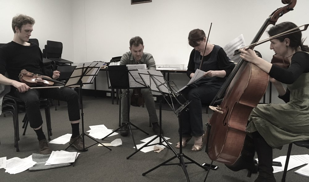 Nick, James, Helen, and Zoe of The Flinders Quartet working out what all my notes are meant to sound like, October 31st 2017.