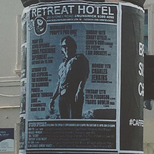 I'm the feature of this week's Retreat poster! It's nice to tick off life goals. Come see The Experiment play at @retreat_hotel_brunswick tonight alongside @silverspringstagram from around 8:00pm. It's our last gig of the year, so we'll be seeing 2017 off with some noise.
