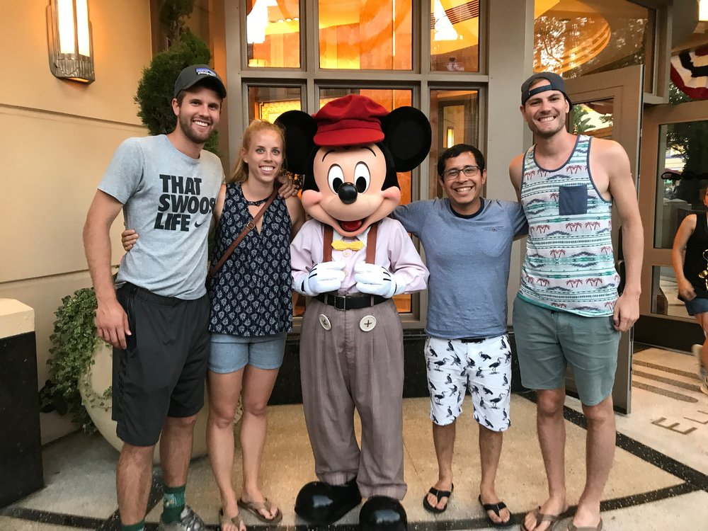 Chilling out with Mickey Mouse and that is Bethany's brother.  He is really cool.  Glad I get to make new friends through my friend Kolby's marriage!