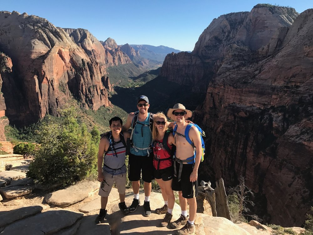 When we went on vacation together to Zion National Park and climbed Angels Landing.  The fun lady in the pic is Kolby's wife Bethany and the other dude is Tyler, Bethany's brother.