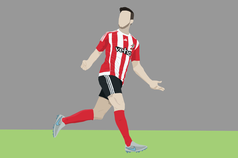 Shane Long in a rare pose of celebrating a goal (he's definitely scoring against Norwich now)