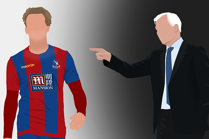 Pardew points out to Bamford that he's put the wrong kit on