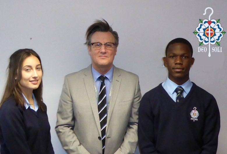 Mr Bentley with Head Boy and Head Girl