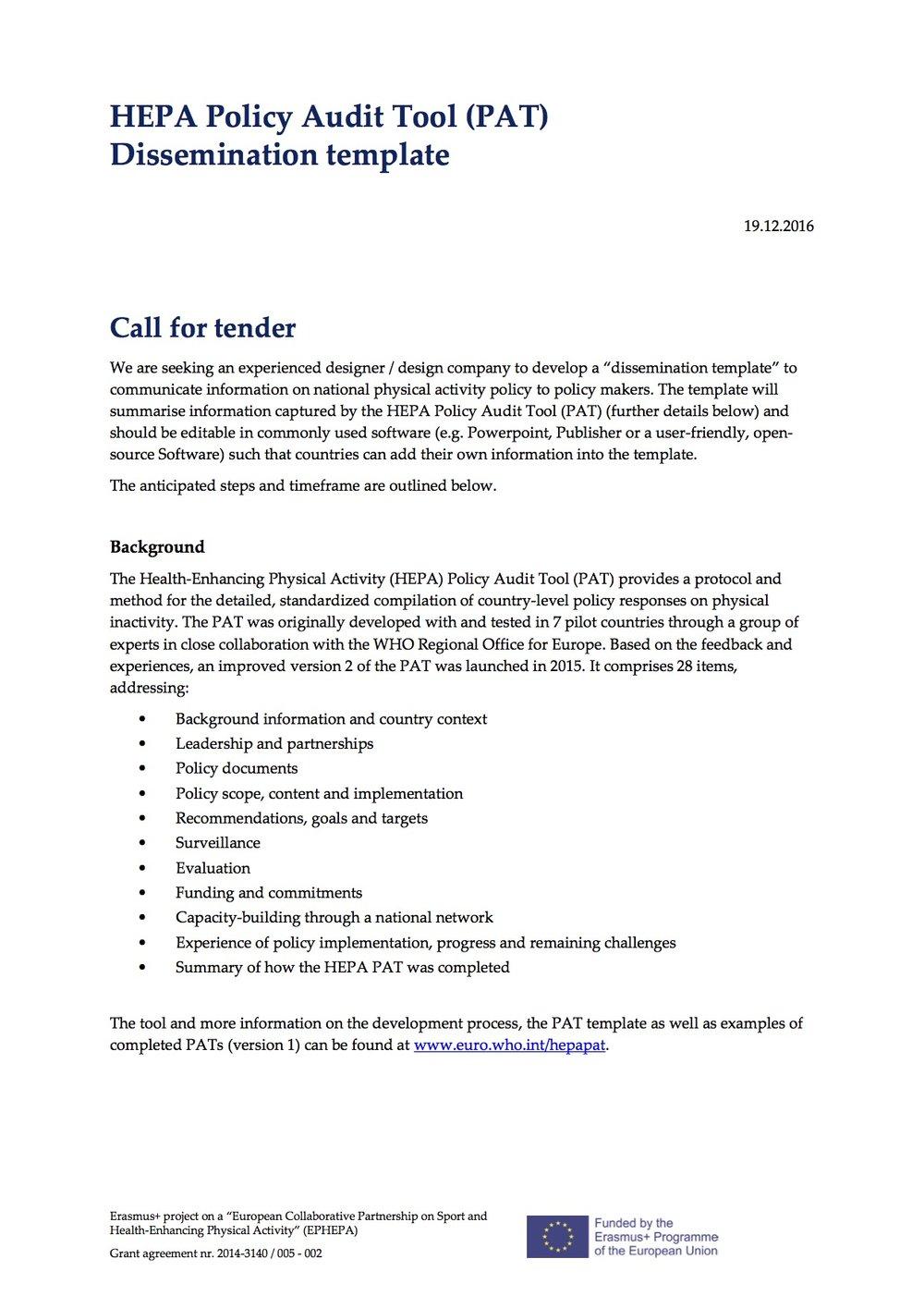 Call For Tender Hepa Policy Audit Tool Pat