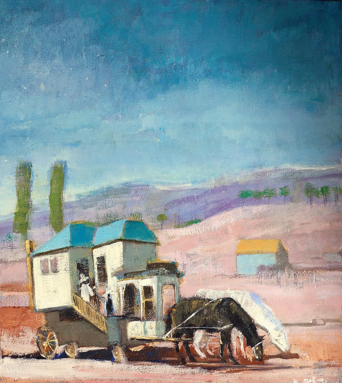 Kaymakam Lojmanı / Public Housing  41x47cm tuval üzerine yağlıboya/ oil on canvas 2015  Palimpsest Memory Solo Exhibition @ Harmony Art Gallery    (Özel Koleksiyon/Private Collection)