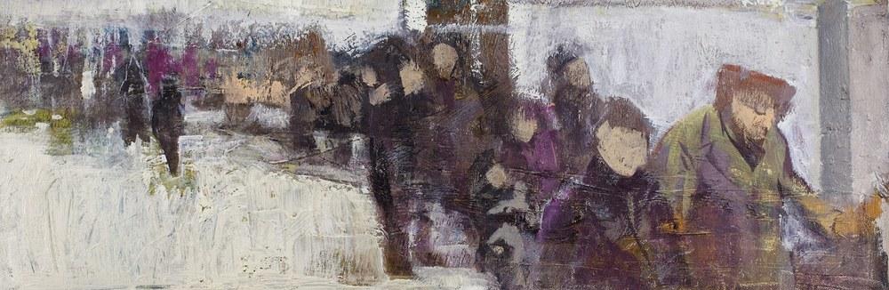 Göç / Immigration  75x27cm tuval üzerine yağlıboya/ oil on canvas 2015  Palimpsest Memory Solo Exhibition @ Harmony Art Gallery    (Özel Koleksiyon/Private Collection)