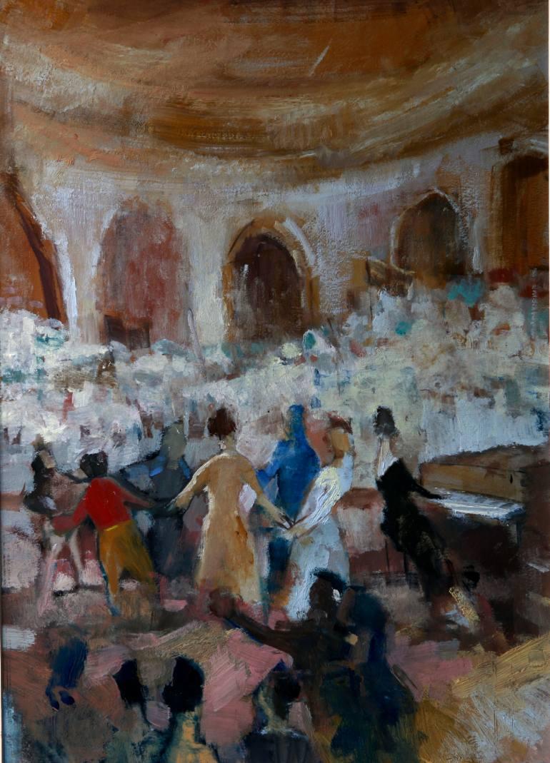 The Feast / Şölen   35x45cm, oil on paper / kağıt üzerine yağlıboya, 2011   My Studio @ Devrim Erbil Modern Art Museum    (Private Collection / Özel Koleksiyon)