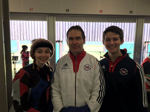 Seonaid pictured along with Coach Sinclair and fellow GB Academy athlete Dean