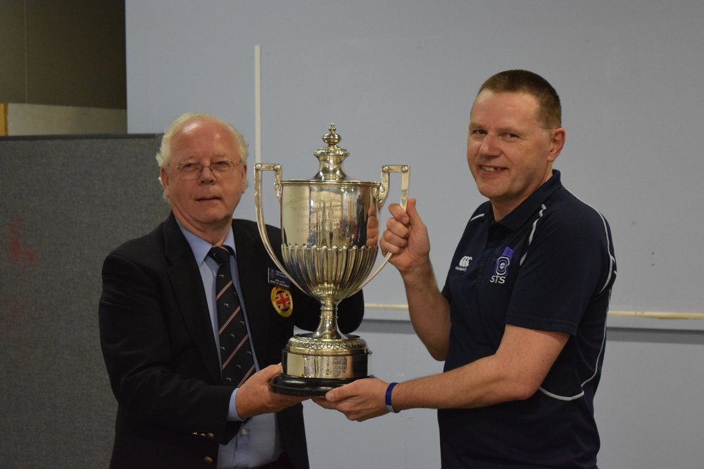 David Owen being presented with the Gallie 50M Cup