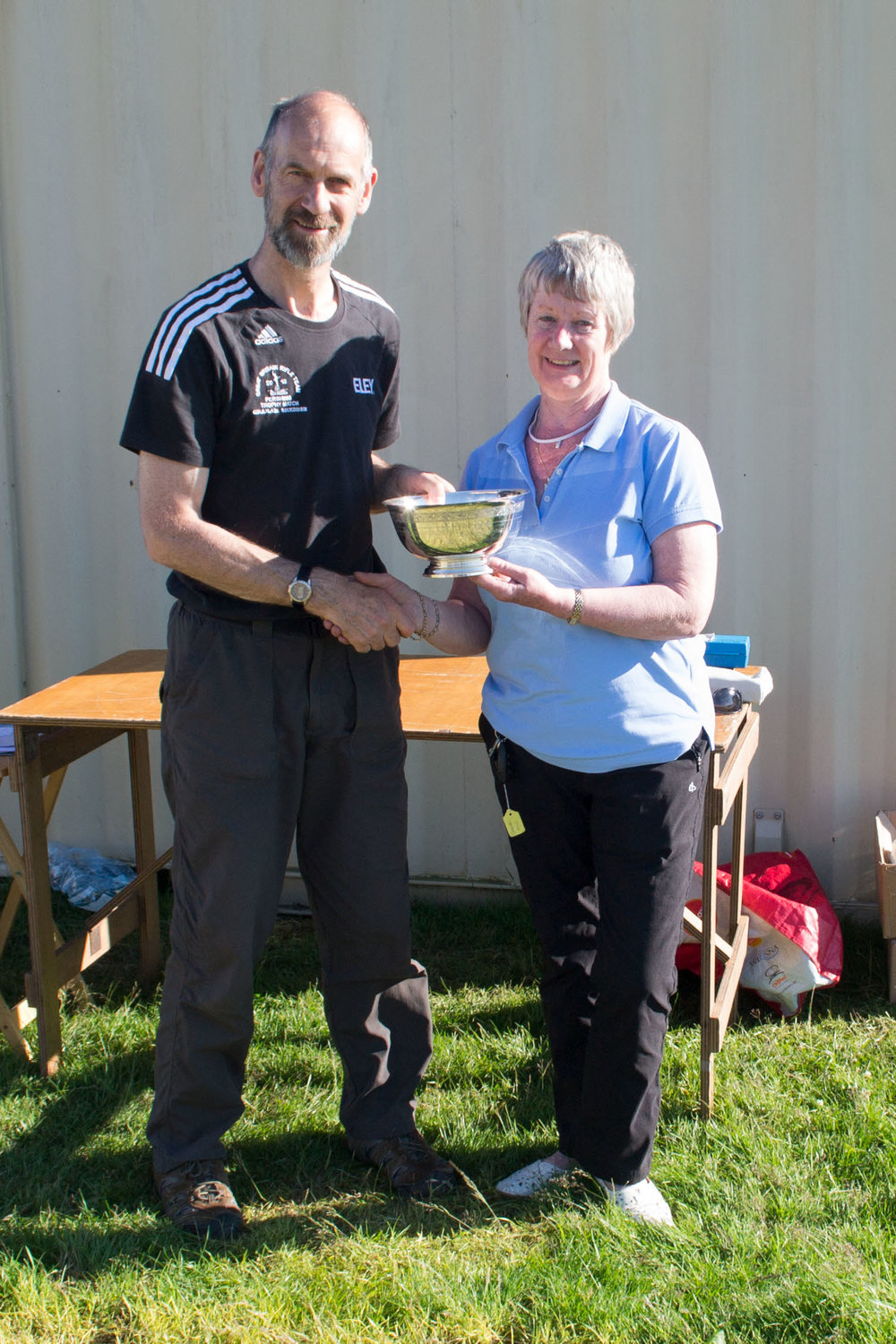 Open Championship, the Liddell-Grainger Trophy:   Graham Sheddenbeing presented with the Trophy by Sheena Sharp