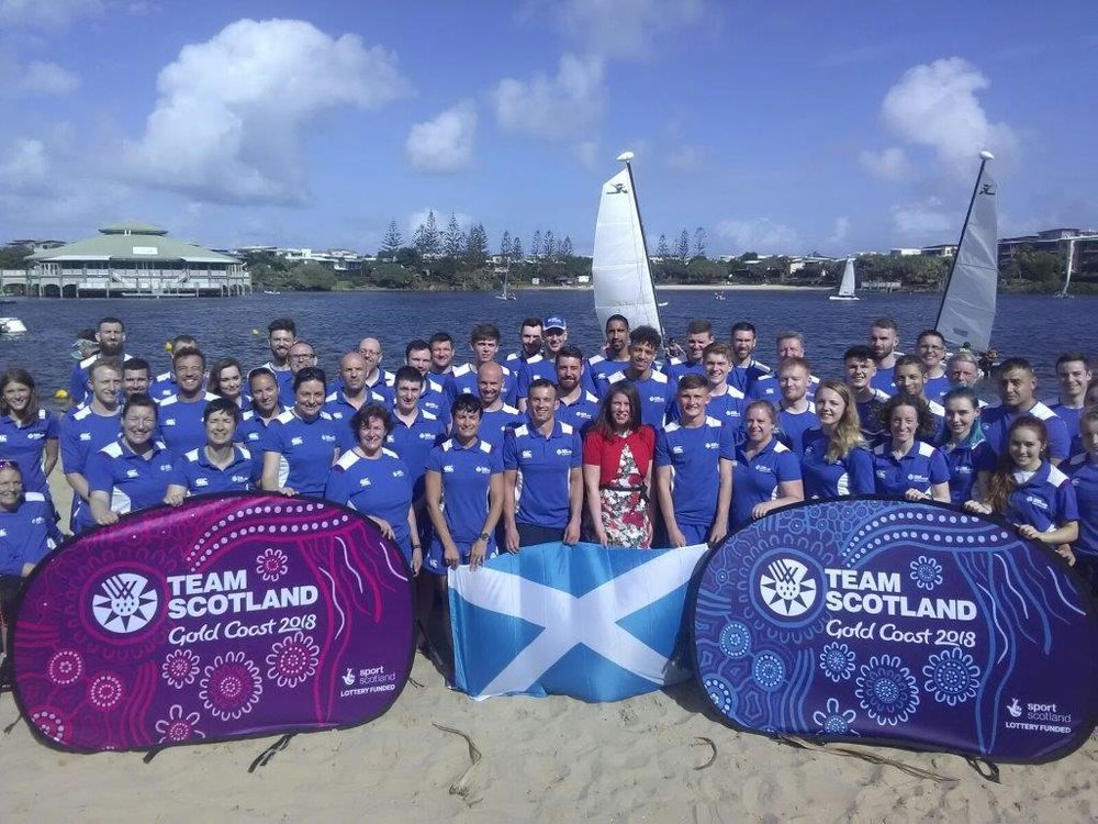 #TeamScotland pictured with  Minister  for Public Health and   Sport   Aileen Campbell