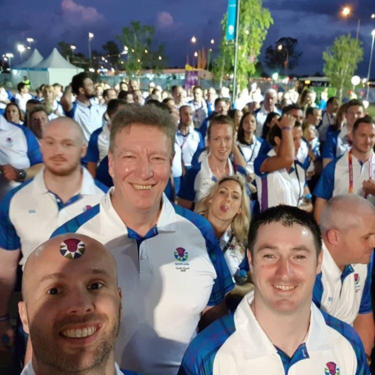 Neil, Ian and Lenny waiting outside the stadium ahead of the opening ceremony for the 2018 Commonwealth Games