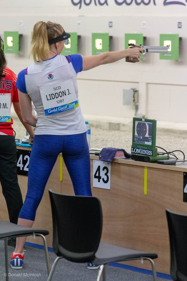 Jessica in action in the Women's 25m Pistol qualification