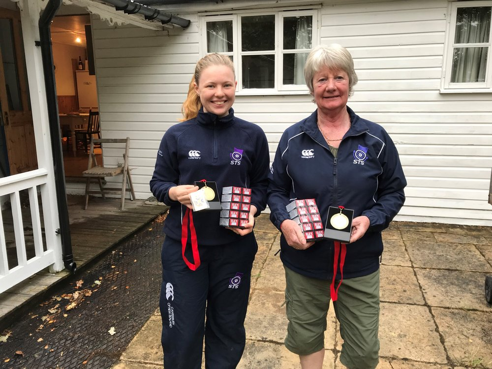 Vikki and Sheena with their 3P medals from the Inter Region Match