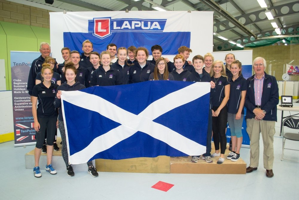 The successful group of Scottish Junior Rifle and Pistol shooters who competed in the Junior International week at Bisley