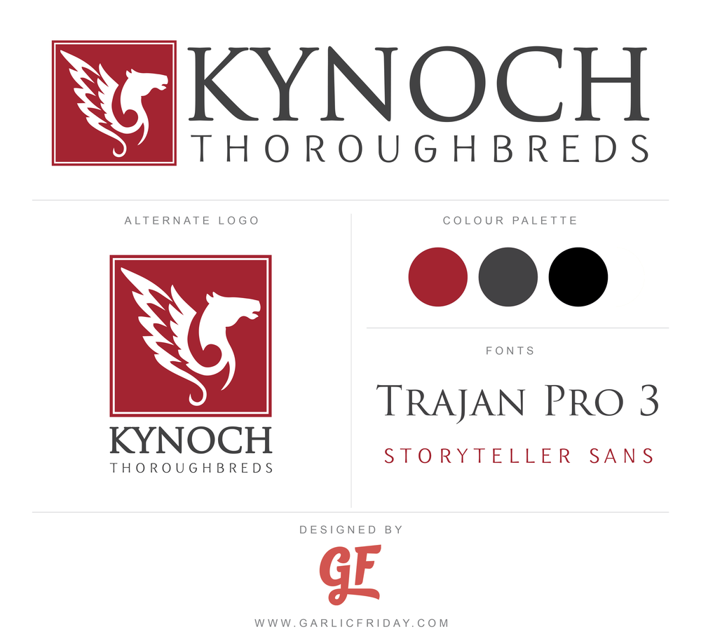Clean and simple Brand Style Board for Kynoch Thoroughbreds